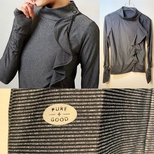 Anthropologie Pure + Good Striped Ruffle Jacket S